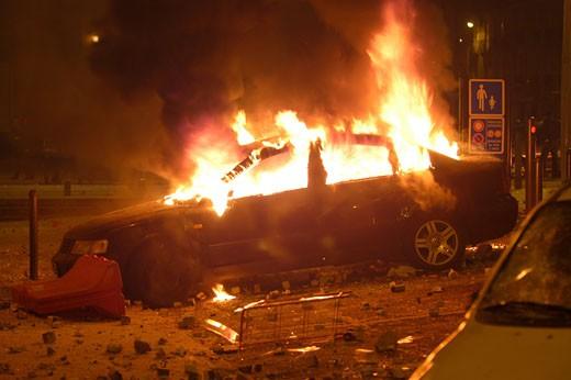 Stock Photo: 1606-54462 France, Pays de la Loire, Loire Atlantique, Nantes, anti-Sarkozy riots