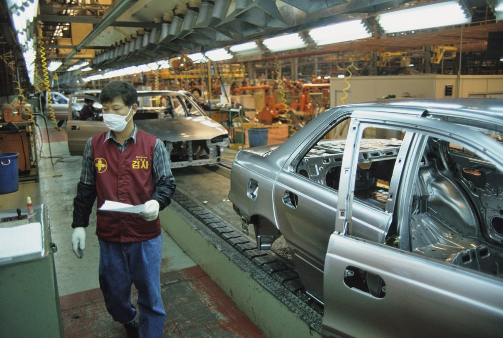 Stock Photo: 1606-55915 South Korea, Ulsan, Hyundai car factory