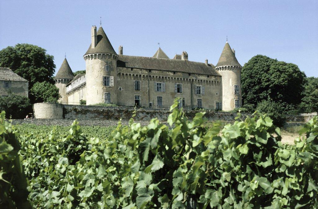 France, Burgundy, Saone et Loire, Rully castle : Stock Photo