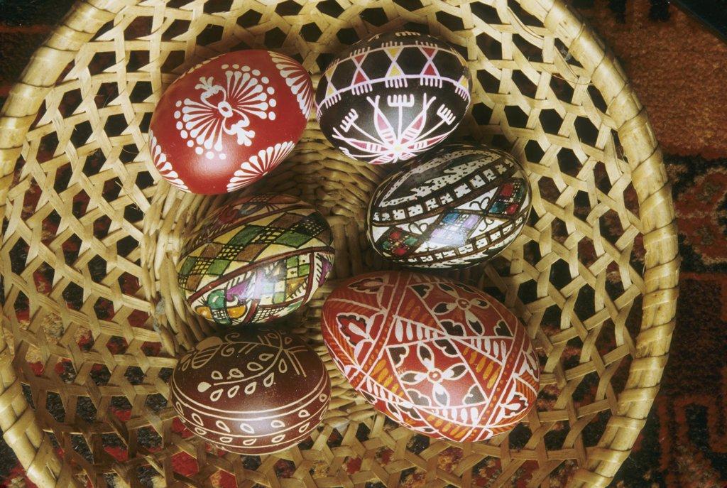 Polish decorated eggs : Stock Photo