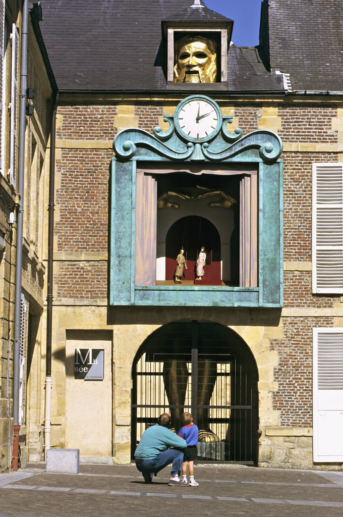 Stock Photo: 1606-57609 France, Champagne-Ardenne, Ardenne, Charleville Mezières, Marionette house, facade, father and son