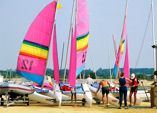Stock Photo: 1606-58840 France, Normandy, catamarans on the beach