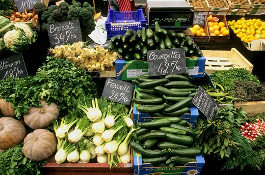 France, Paris, organic market, vegetables : Stock Photo