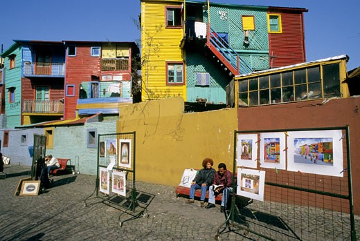 Argentina, Buenos Aires, La Boca, Caminito, colored facades : Stock Photo