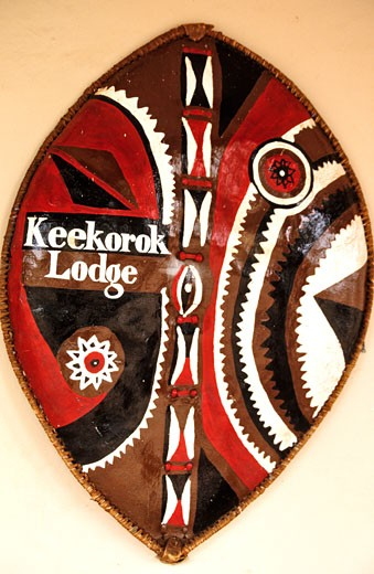 Stock Photo: 1606-60807 Kenya, Masai Mara région, masai shield at Keekorok Lodge