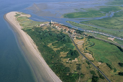 France, Picardie, Somme, aerial view of baie de Somme and pointe du Hourdel : Stock Photo