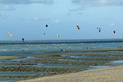 France, Picardie, Somme, Cayeux-sur-Mer, kitesurfing on the beach : Stock Photo