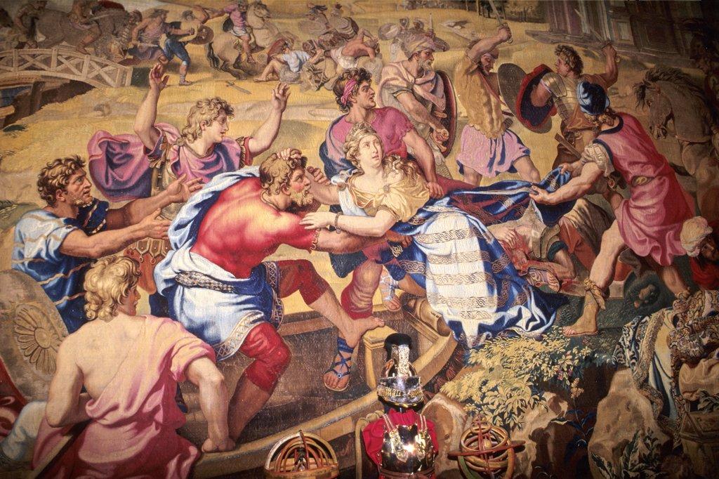 France, Centre, Loir-et-Cher, Cheverny castle, Gobelins tapestry  (17th century) : Stock Photo