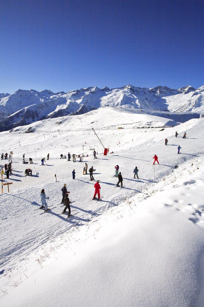 France, French Pyrenees mountains, Haute Garonne (31) Superbagneres ski resort (1400m) : Stock Photo