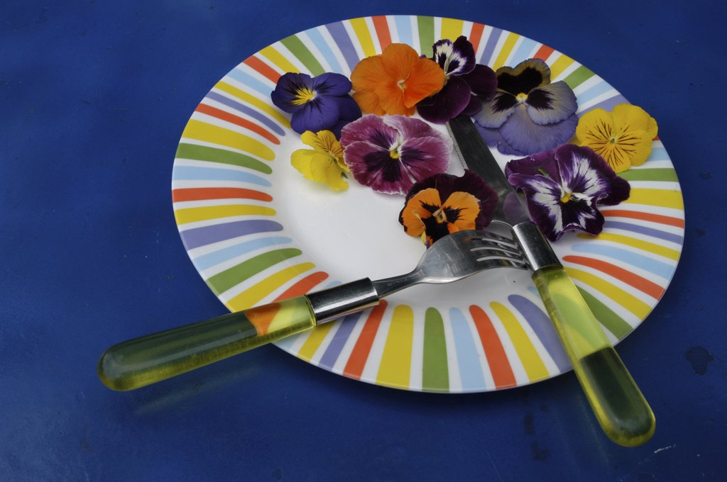 Stock Photo: 1606-63610 Pansies in a plate with cutlery