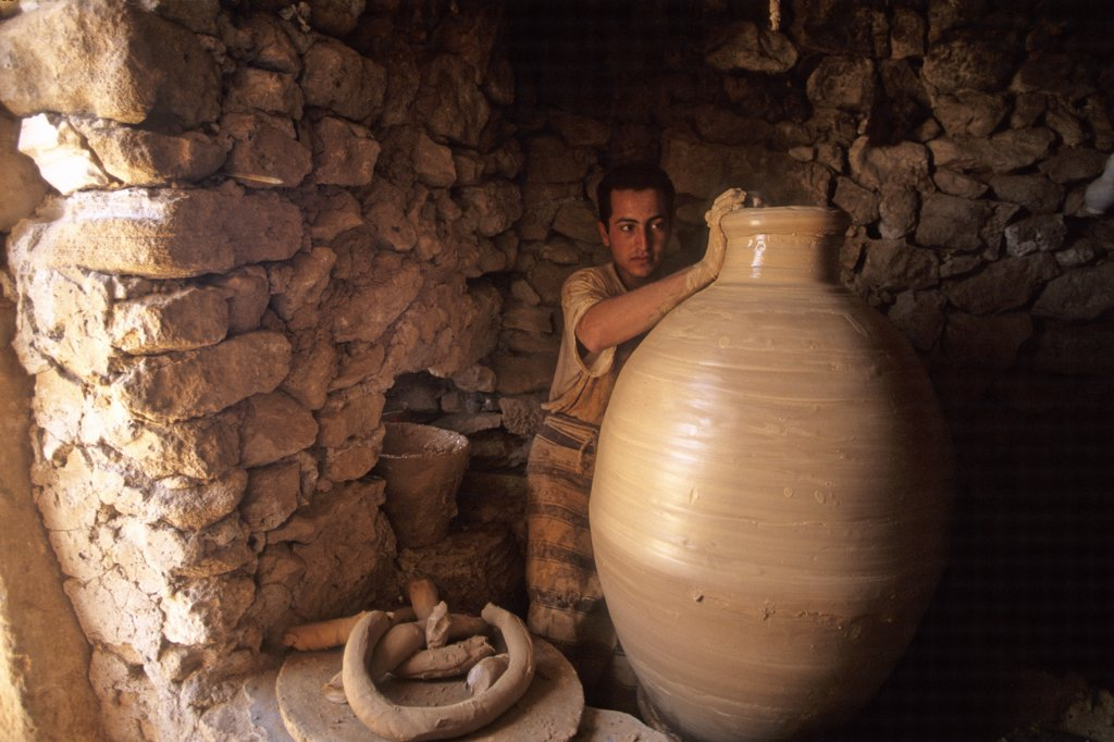 Tunisia, Djerba island, Guellala, man making a pottery : Stock Photo