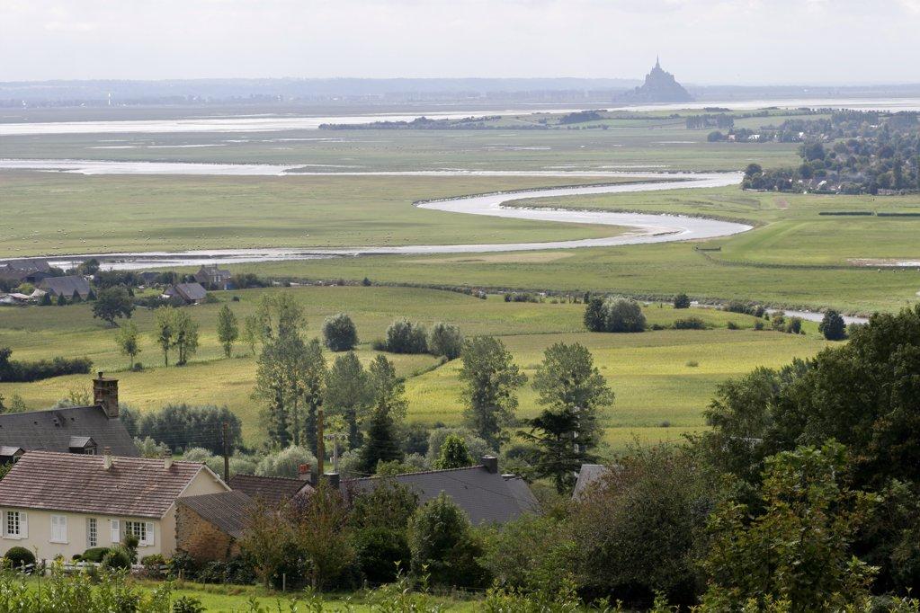 France, Basse-Normandie, Manche, Mont Saint-Michel bay and river Sée : Stock Photo