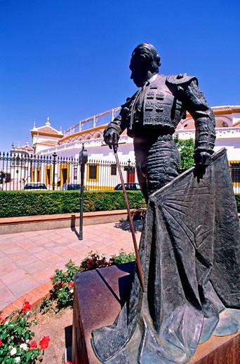 Spain, Andalusia, Sevilla, torero statue in front of : Stock Photo