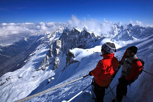 Stock Photo: 1606-65841 France, French Alps, Haute Savoie, from the Aiguille du Midi mountain (3842 m), the Vallee Blanche (White Valley), most famous ski descent in Europe (20 km untill Chamonix ski resort)
