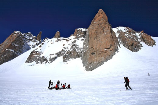France, French Alps, Haute Savoie, the Vallee Blanche (White Valley), most famous ski descent in Europe (20 km untill Chamonix ski resort) : Stock Photo