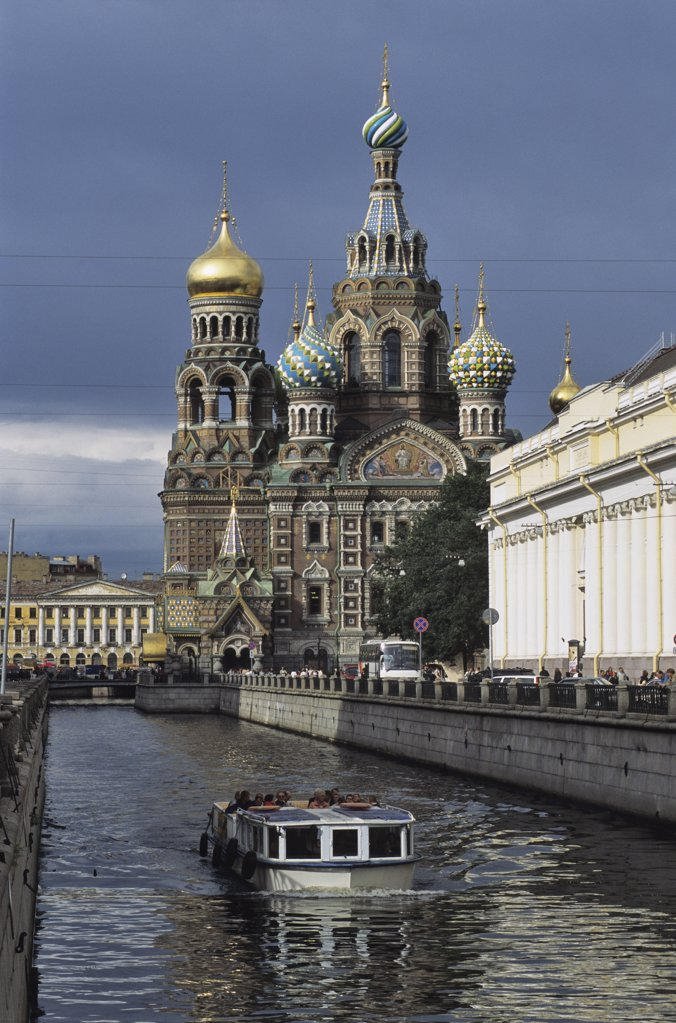 Stock Photo: 1606-66704 Russia, Saint Petersburg, church of Resurrection of Christ, boat on a canal in the foreground