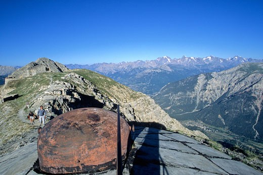 France, Provence Alpes Cote D'Azur, Hautes Alpes,  Janus's fort on the height of Montgenevre, build of 1886 to 1903, lment of the line Maginot of Alps : Stock Photo