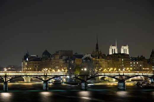 France, Paris, ile de la Cité and pont des Arts : Stock Photo