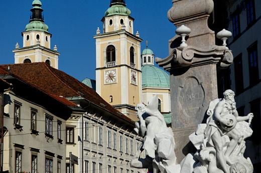 Slovenie, Ljubljana, Fountain of the Three Rivers Carniolan (Venetian sculptor : Francesco Robba) : Stock Photo