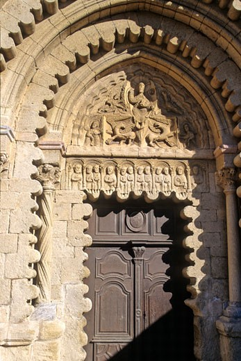 Stock Photo: 1606-68870 France, Provence Alpes Cote d'Azur, Alpes de Haute Provence, Ganagobie monastery (Forcalquier area), church door