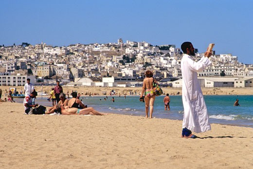 Stock Photo: 1606-68924 Africa, Morocco, Tangier beach and medina