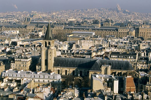 France, Paris, St Germain des Prés district, church, Sacre Coeur in the back : Stock Photo