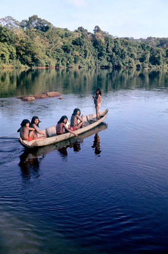 Stock Photo: 1606-70825 French Guyana, Camopi, Tekos tribe people on Oyapock river