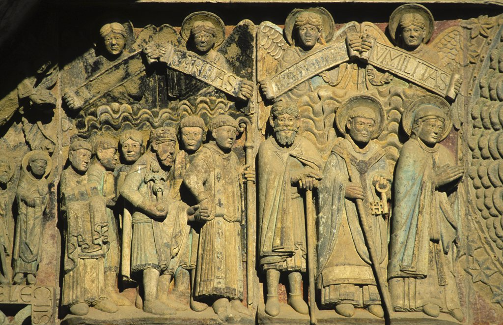 Stock Photo: 1606-72384 France, Aveyron, Conques, Conques abbey church tympanum