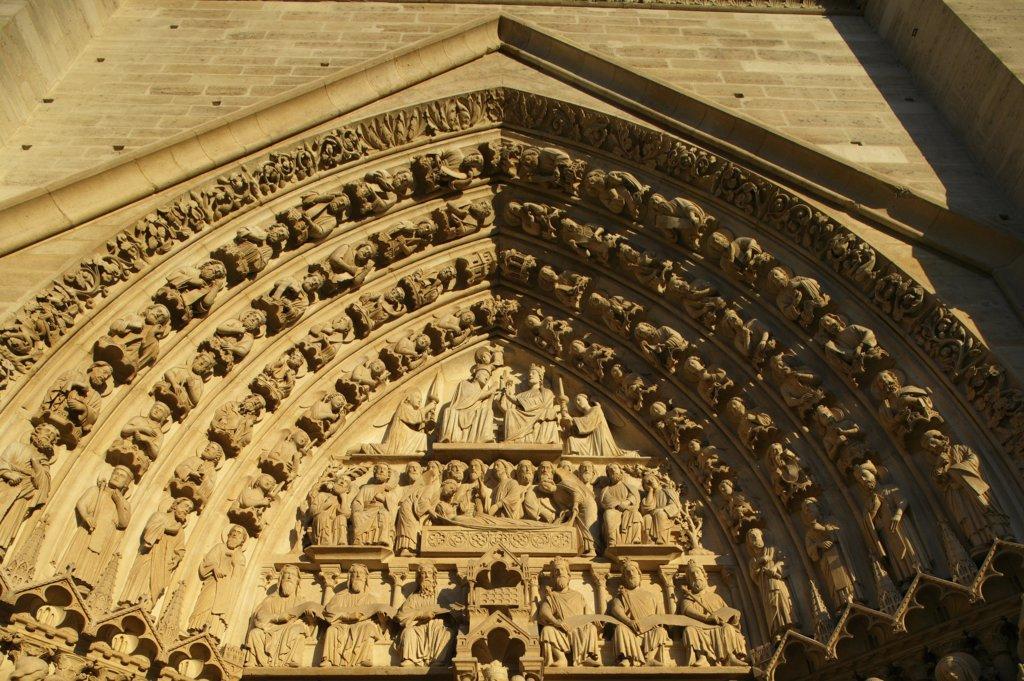 Stock Photo: 1606-72443 France, Paris, Notre Dame de Paris cathedral Virgin's Gate tympanum