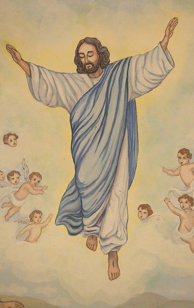 France, Haute Savoie, Notre Dame de la Gorge, Baroque church of Notre Dame de la Gorge.  Jesus' s ascension : Stock Photo