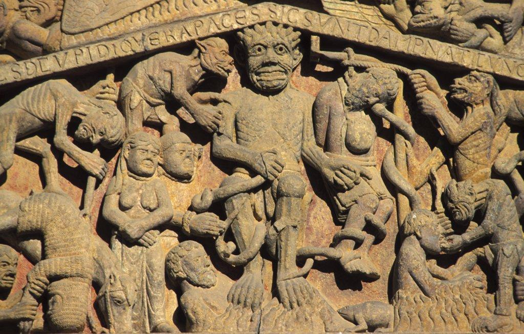 Stock Photo: 1606-72595 France, Aveyron, Conques, Sainte Foy church tympanum : Hell