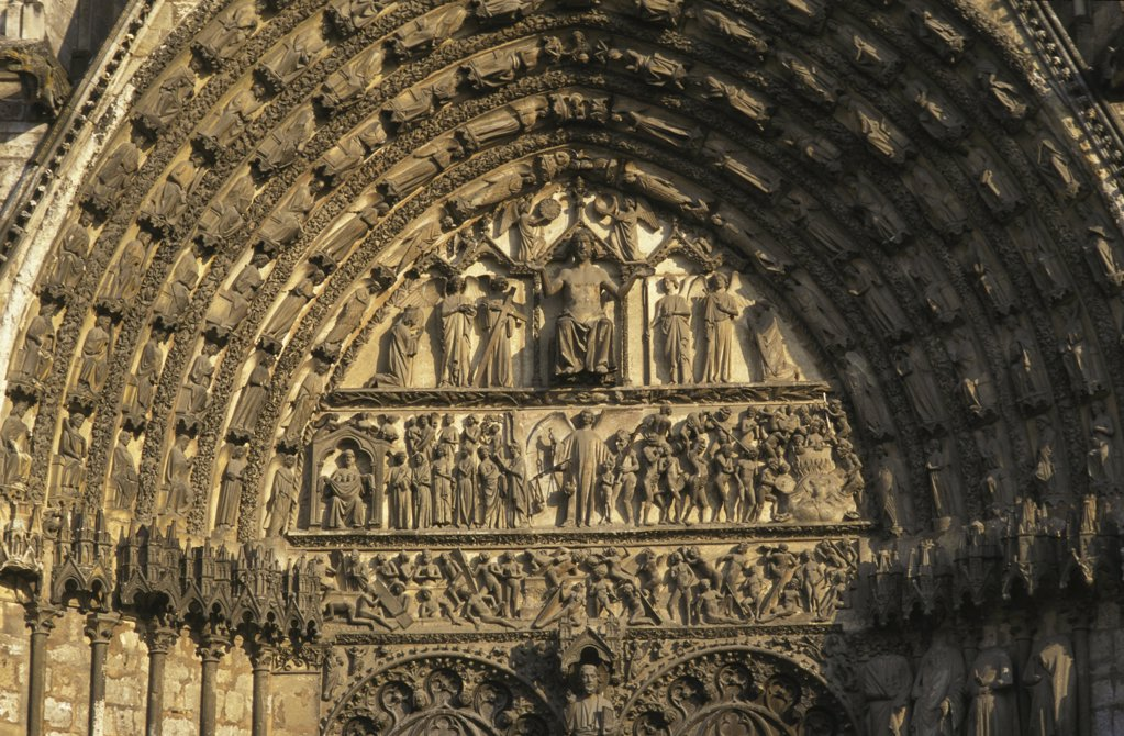 Stock Photo: 1606-72602 France, Cher, Bourges, Bourges cathedral tympanum : the last judgment