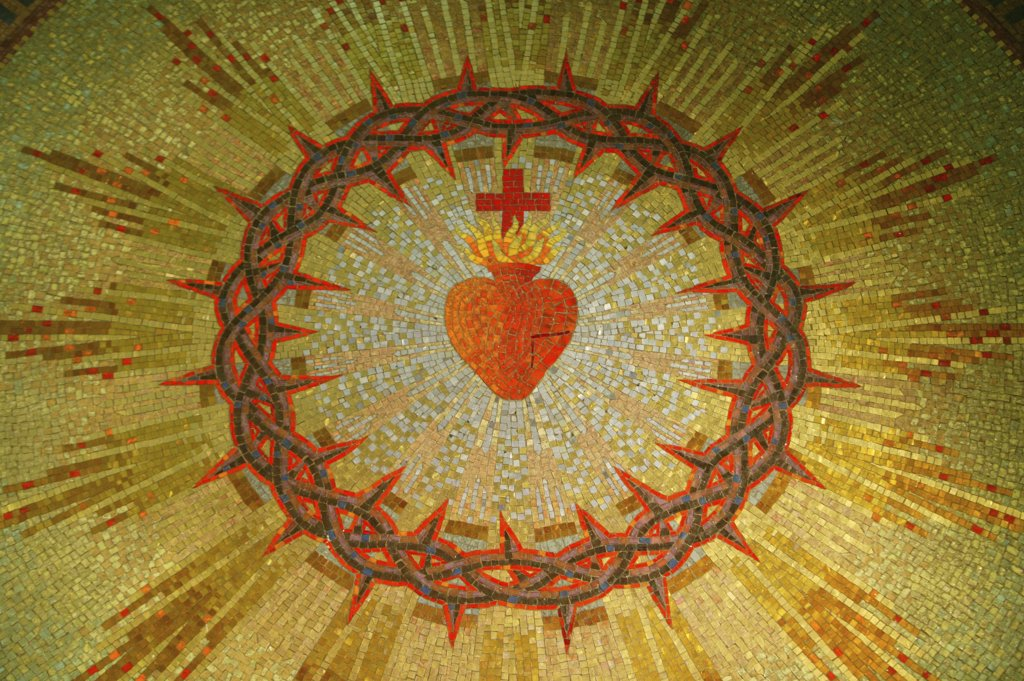 France, Bourgogne, Paray le Monial, Jesus's sacred heart. Apparitions chapel : Stock Photo