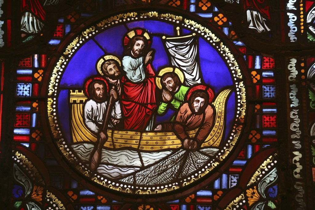 Stock Photo: 1606-72843 France, Rhône, Lyon, Stained glass window of the miracle fishing