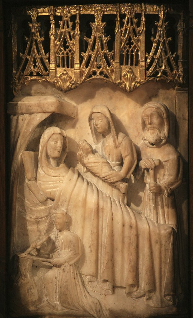Stock Photo: 1606-72987 France, Gironde, Bordeaux, Saint Seurin basilica 15th century alabaster retable depicting the life of the Virgin Mary