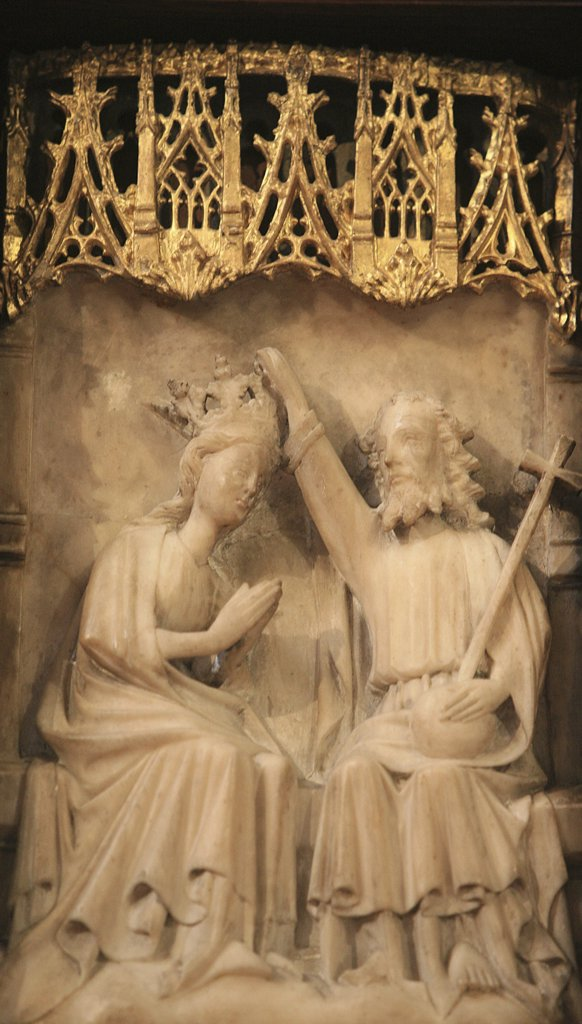 France, Gironde, Bordeaux, Saint Seurin basilica 15th century alabaster retable depicting the life of the Virgin Mary : Stock Photo