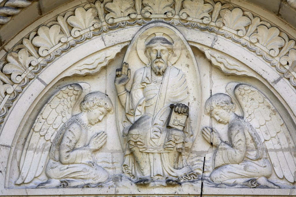 France, Vosges, Vittel, Saint Louis church tympanum : Stock Photo