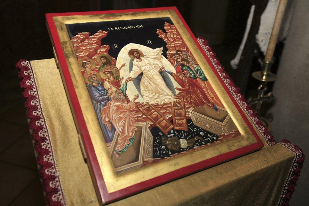 France, Drôme, Saint-Laurent-en-Royans, Resurrection icon. Saint-Antoine-le-Grand  orthodox church : Stock Photo