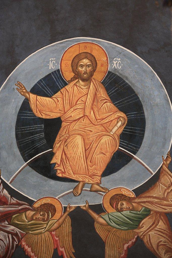 France, Drôme, Saint-Laurent-en-Royans, Christ's Ascension. Saint-Antoine-le-Grand  orthodox church : Stock Photo