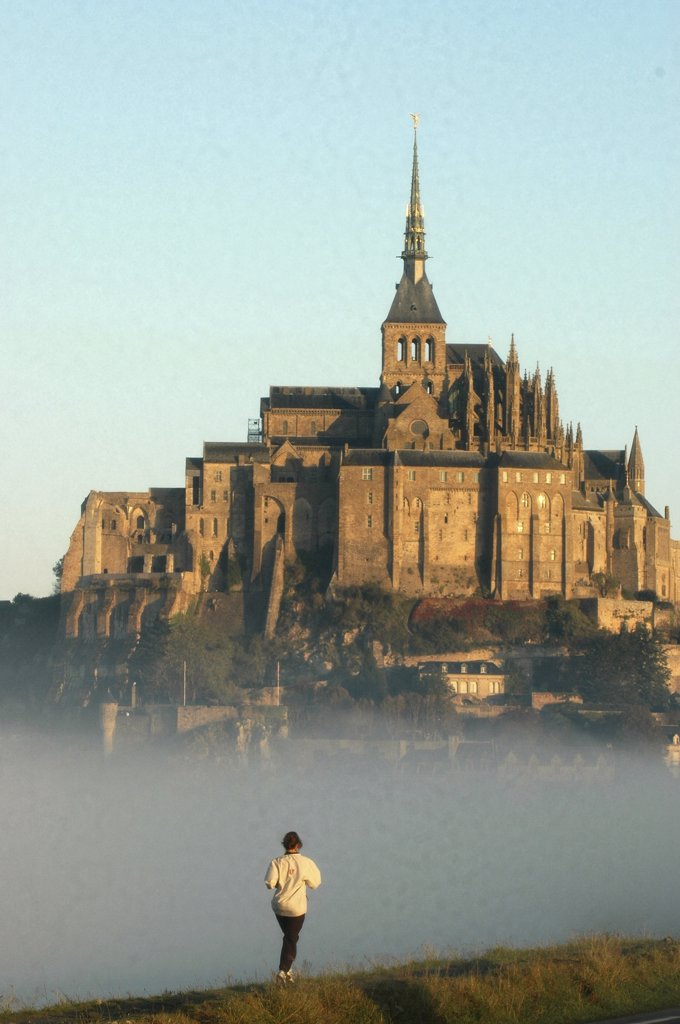 Stock Photo: 1606-73232 France, Manche, Le Mont Saint Michel, Jogging at Mont Saint Michel