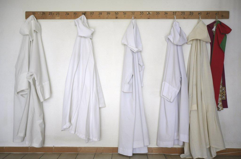France, Haute Savoie, Evian, Monks' robes. Notre-Dame d'espérance monastery. : Stock Photo