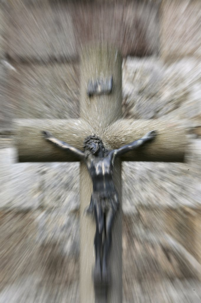 France, Finistère, Landévennec, Christ on the cross : Stock Photo