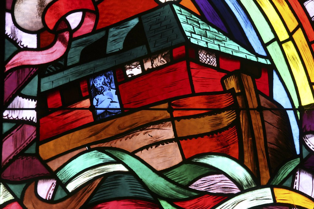 France, Haute Savoie, Annecy, Saint-Joseph des fins church stained glass window : Noah's Ark : Stock Photo