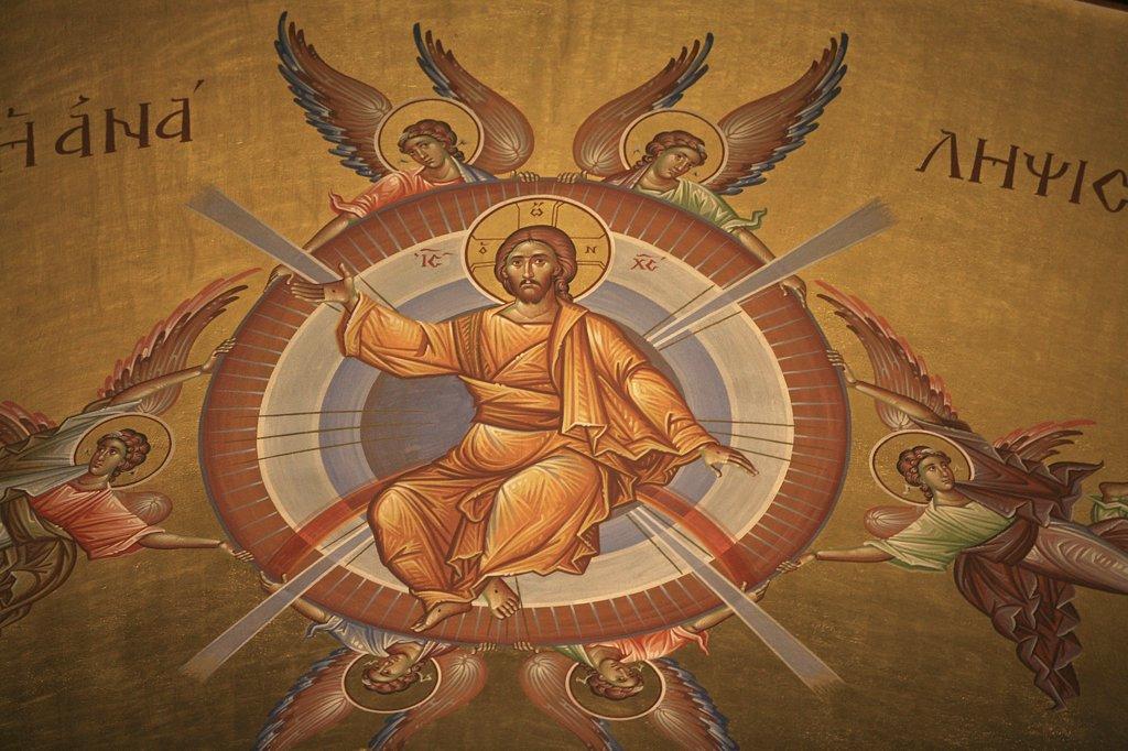 Grèce, Macédoine, Thessalonique, Greek orthodox icon :  Christ's ascension : Stock Photo