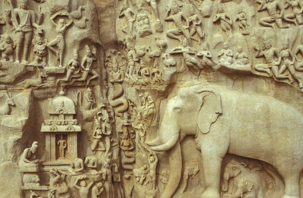Stock Photo: 1606-73869 Inde, Tamilnadu, Mamallapuram, Relief Sculpture of Arjuna's Penance, also referred to as Descent of the Ganges, at Mamallapuram