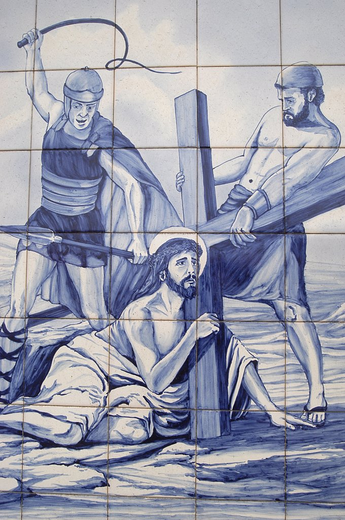 Portugal, Açores, Ile de Terceira, Mosaic on a wall in Terceira depicting Christ's Passion : Stock Photo