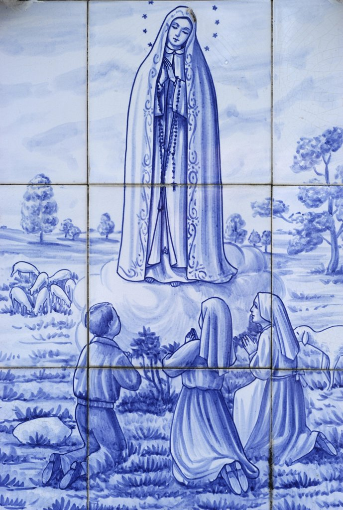 Stock Photo: 1606-74176 Portugal, Açores, Ile de Terceira, Mosaic on a wall in Terceira depicting the Virgin Mary's apparition in Fatima