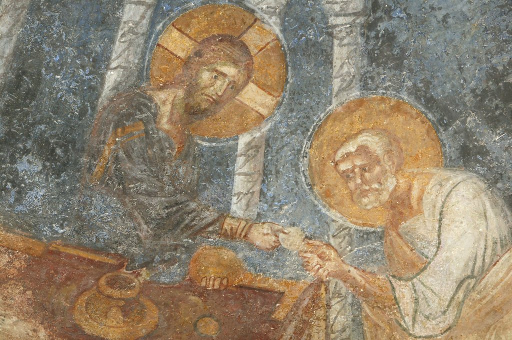 Turquie, Anatolie, Myra, Saint Nicholas church fresco : Jesus with apostle : Stock Photo