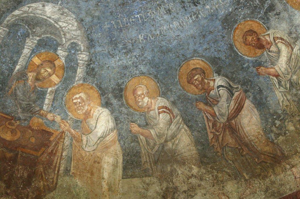 Turquie, Anatolie, Myra, Saint Nicholas church fresco : Jesus with apostles : Stock Photo