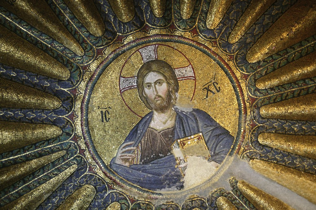 Turquie, Istanbul, Church of St. Saviour of Chora. Roof Mosaic of Christ the Pantocrator : Stock Photo